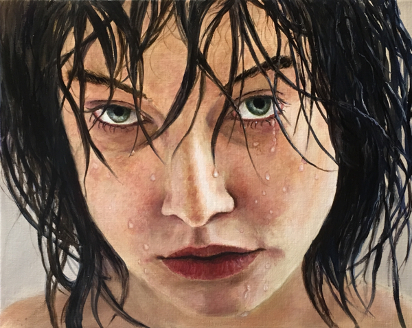 Girl, shower , realism, woman, expression, water