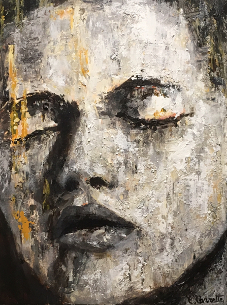 Meisje, girl, woman, grey, emotion, peinture, acrylique, acryl, painting,
