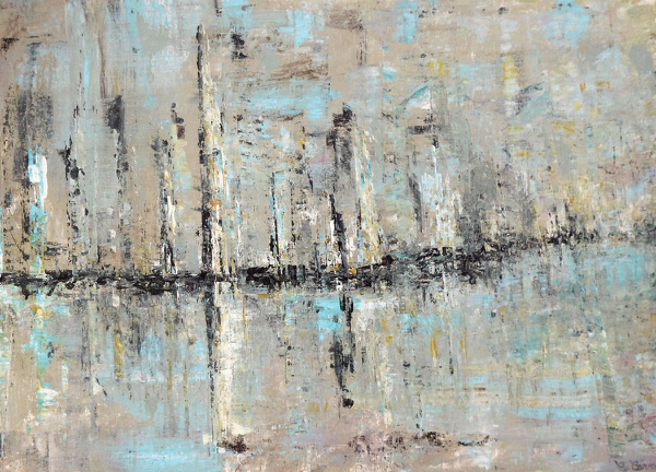 Haven, harbour, sea, painting, acryl, marina, blue