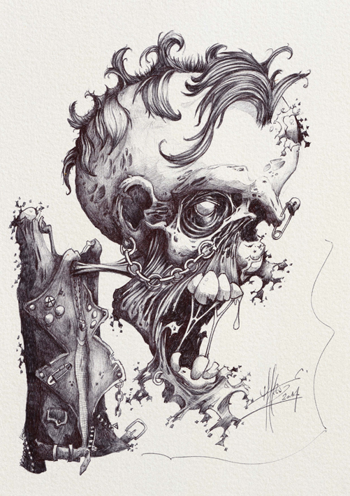Zombie punk zwarte bic