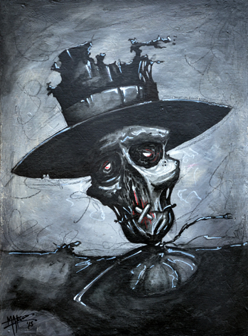 SCARECROW_Acryl + ink on wood 42,5x31cm by mar©uz